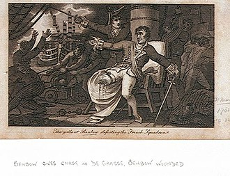John Benbow - An engraving produced in 1804 that helped to promote the legend of the event, entitled The gallant Benbow defeating the French Squadron. It shows Benbow's leg as completely shot away. Underneath another hand has written Benbow gives chase to de Grasse.