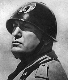 portrait of Benito Mussolini in a helmet and uniform