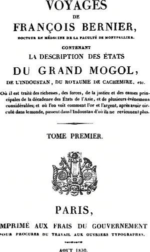 François Bernier - Édition de 1830 des Voyages dans les États du Grand Mogol.