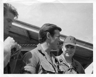 Christopher George - Christopher George with fellow Rat Patrol actor Lawrence Casey and 2LT David Coupe, US Army Signal Corps, at III Corps HQ, Bien Hoa, Vietnam in December 1967.