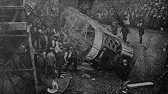 1907 Birmingham Tramway accident - The overturned tram: from a contemporary postcard