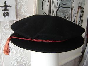 Tudor bonnet - A standard cloth academic Tudor bonnet.