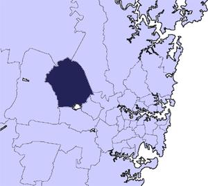 City of Blacktown - Location in Metropolitan Sydney