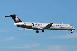 Blue Line (airline) - The Blue Line McDonnell Douglas MD-83 flying for U2 landing in Zurich