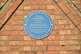 Steve Bloomer - Blue Plaque commemorating the life of Steve Bloomer, sited on the corner of Peartree Street and Portland Street.