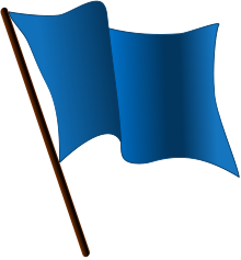 Digital artwork of a blue flag waving in the wind.