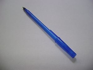 a ball point blue ink pen.
