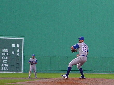 Bob File pitching for the Blue Jays at Fenway Park during the 2001 season. BobFile FenwayPark 2001 3.jpg