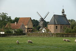 View on the village centre of museum-part Haspengouw.