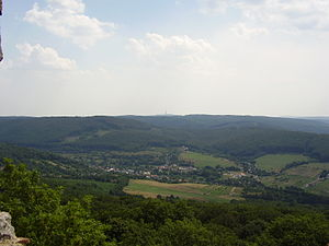 Borinka - Borinka from the Pajštún castle. Kamzík TV Tower can be seen on the horizon