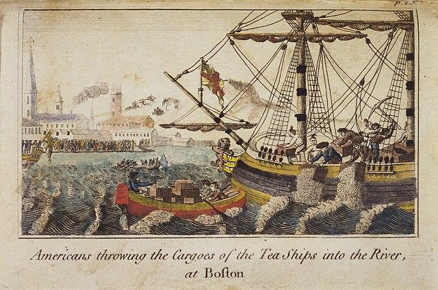 Boston Tea Party, män utklädda till indianer dumpar te i havet