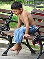 Boy on Park Bench - Tirana - Albania (27909098077).jpg