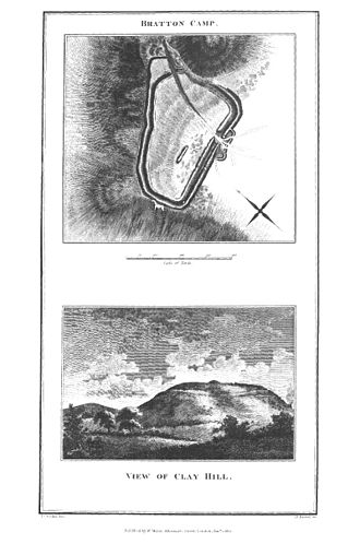 Bratton Castle - Pencil sketches of Bratton Camp, from The Ancient History of Wiltshire by Sir Richard Colt Hoare