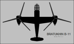 Bratukhin B-11 top-view silhouette.png