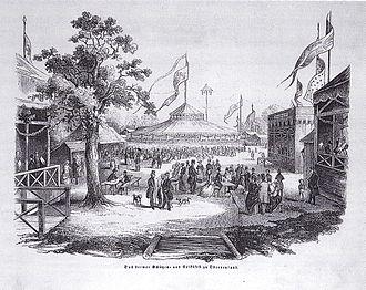 Schützenfest - The Bremen Marksmen's and People's Festival (1846, wood-engraving from the Illustrirte Zeitung).