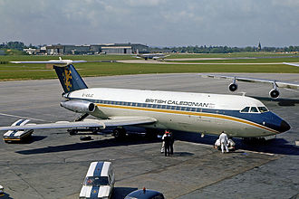 British Caledonian - British Caledonian BAC One-Eleven 200 at London Gatwick Airport in 1973.