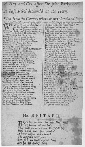 John Barleycorn - Broadside ballad entitled 'A Huy and Cry After Sir John Barlycorn' by Alexander Pennecuik, 1725