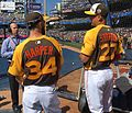 Bryce Harper and Giancarlo Stanton chat before the T-Mobile -HRDerby. (27938825393).jpg