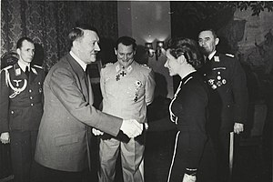 Hanna Reitsch - Adolf Hitler awards Hanna Reitsch the Iron Cross 2nd Class in March 1941