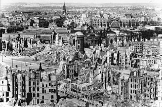 British/American air raids on a city in Germany