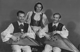 Karelo-Finnish Soviet Socialist Republic - Kantele players from the KFSSR at the Second World Festival of Youth and Students, 1949.