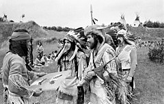 Eastern German reenacters at an Indianistikmeeting in Schwerin, 1982, the popular image of Native Americans made Indian living history quite popular in communist Eastern Germany