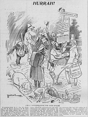 Good Roads Movement - 1904 editorial cartoon by E. A. Bushnell, urging that funds be appropriated for the goals of the Good Roads Movement