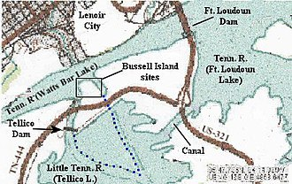 Bussell Island - Bussell Island vicinity, with the dotted blue line showing the island's original east and southwest shorelines