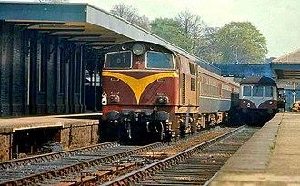 NIR 101 Class - Class 101 locomotive at Lisburn in the original maroon livery