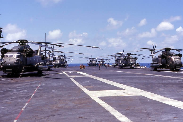 CH-53 helicopters on USS Midway (CV-41), April 1975