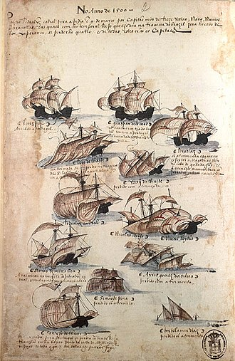2nd Portuguese India Armada (Cabral, 1500) - Fleet of the 2nd India Armada (Cabral, 1500), from the Memória das Armadas