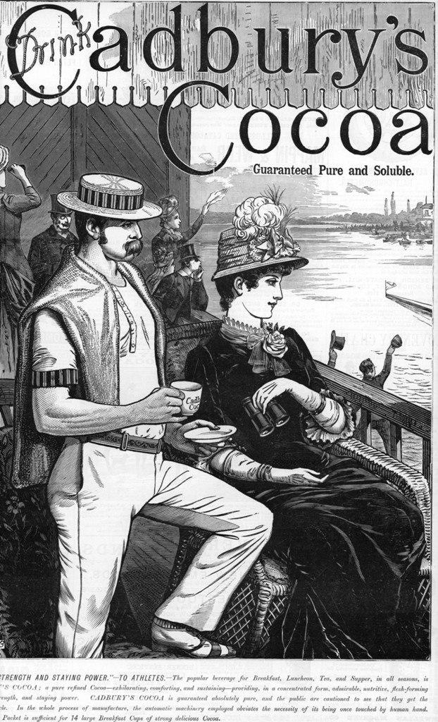 Cadbury's Cocoa advert with rower 1885