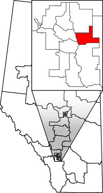 Calgary Forest Lawn - Calgary Forest Lawn in relation to other Alberta federal electoral districts as of the 2013 Representation Order.