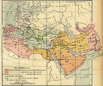 Damascus was the capital of the Umayyad caliphate, which extended from Portugal to India Califate 750.jpg