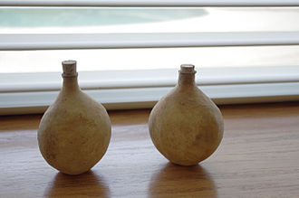 Ittar - Camel skin Perfume Bottles from Kannauj. The bottles are for aging the perfume (the skin breathes, allowing the water to evaporate while holding in the fragrance and oil, becoming a perfume, or attar.)