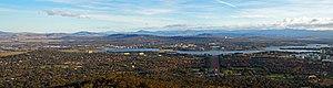 Brindabella Range - The city of Canberra looking towards the Brindabella Range.