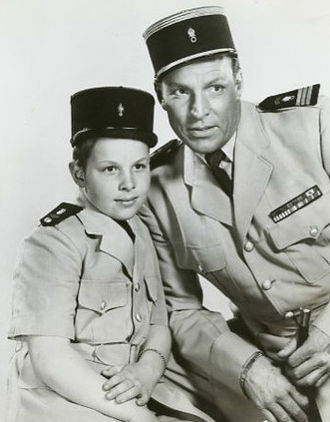 Buster Crabbe - Buster Crabbe with real life son Cullen on Captain Gallant of the Foreign Legion, ca. 1955