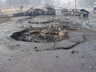 Car bomb - The result of a car bombing in Iraq