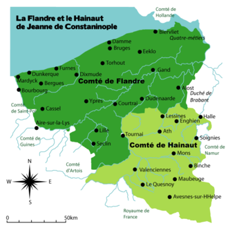 County of Hainaut - County of Flanders and Hainault after countess Jeanne de Constantinople (1200-1244)
