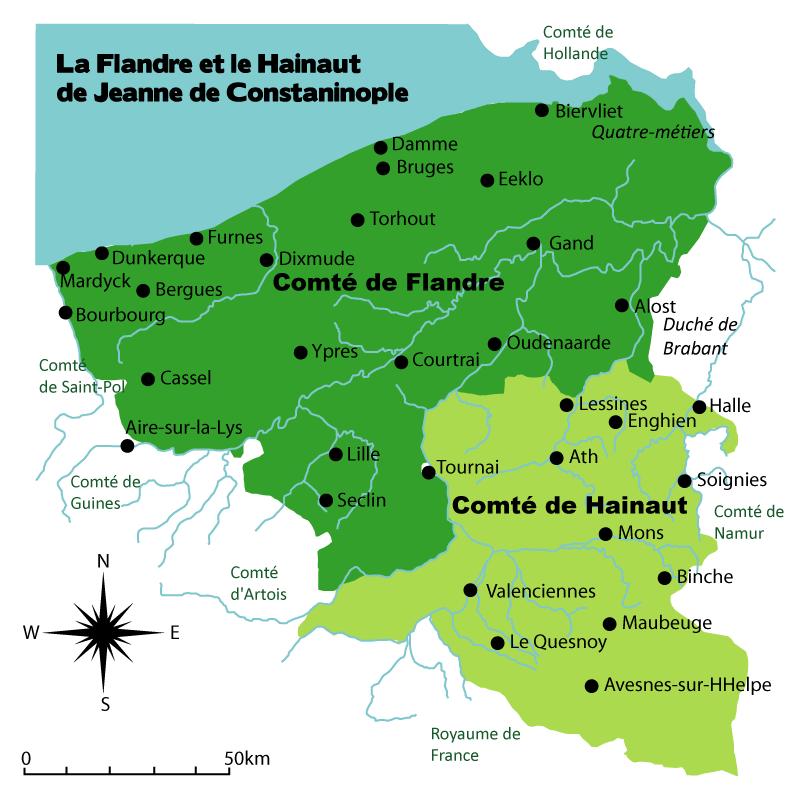 Carte des comtés de Flandre et de Hainaut sous la comtesse Jeanne de Constantinople (1200-1244)