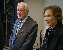 (L-R) Jimmy Carter and Rosalynn at The Carter Center in 2016