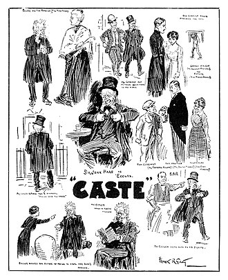 Caste (play) - Illustrator Frank R. Grey sketched scenes from the 1915 film adaption of Caste for Pictures and The Picturegoer magazine (March 4, 1916)