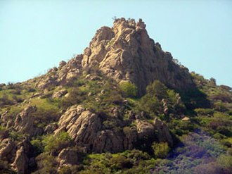 West Hills, Los Angeles - Escorpión Peak (aka: Castle Peak) (1,475 feet/450 m)—east face view from West Hills.