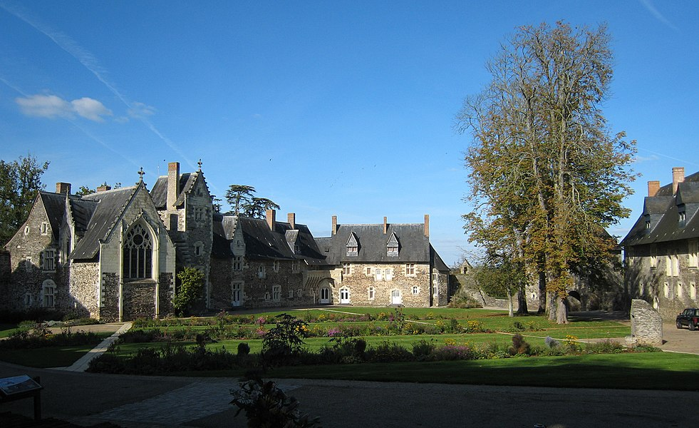 Courtyard of the castle Le Plessis-Macé, located in the village of Le Plessis-Macé near the town of Angers in the department of Maine-et-Loire, France.
