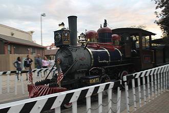 Cedar Point & Lake Erie Railroad - The Judy K. locomotive on a grade crossing.