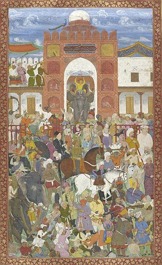 Jahangir - Celebrations at the accession of Jahangir in 1600, when Akbar was away from the capital on an expedition, Salim organised a coup and declared himself Emperor. Akbar had to hastily return to Agra and restore order.