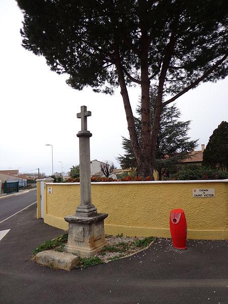 Cers (Hérault) - croix, chemin de Saint-Victor.