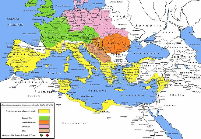 The Roman world in 58 BC before the Gallic Wars. Germanic territories are shown in pink. Cesare prima Gallia 58 a.C.jpg