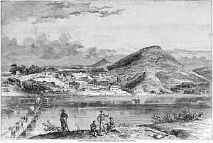 Chattanooga Campaign - Chattanooga viewed from the North bank of the Tennessee River, 1863. The Union Army pontoon bridge is shown on the left, Lookout Mountain at the right rear. The small hill in front of Lookout Mountain is Cameron Hill, which was significantly flattened during 20th century development of the city.