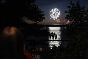 Chautauqua Institution - Fireworks above Chautauqua Lake on the fourth of July